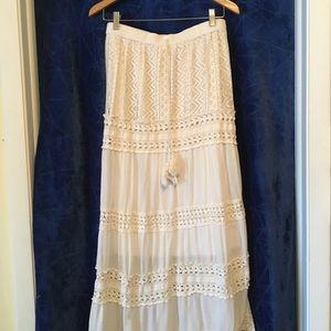 Ivory Boho Maxi Skirt